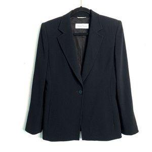 Max Mara 4 Black Single Button Long Blazer Career
